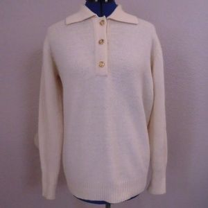 Charter Club Classic Ivory 70% Lambswool SWEATER M